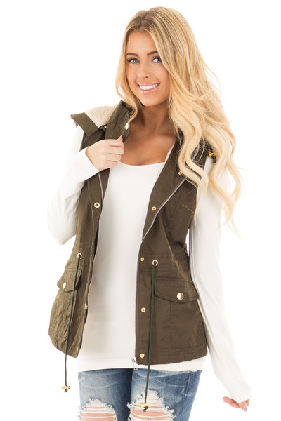 Forest Green Hooded Vest with Faux Fur Lining front close up