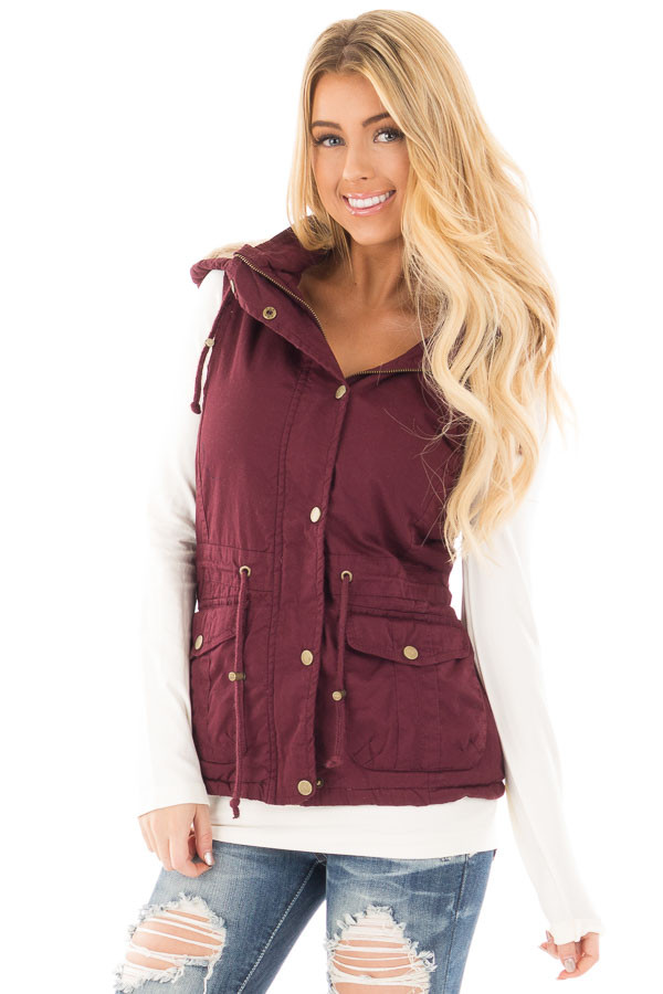 Burgundy Vest with Bronze Zipper Details