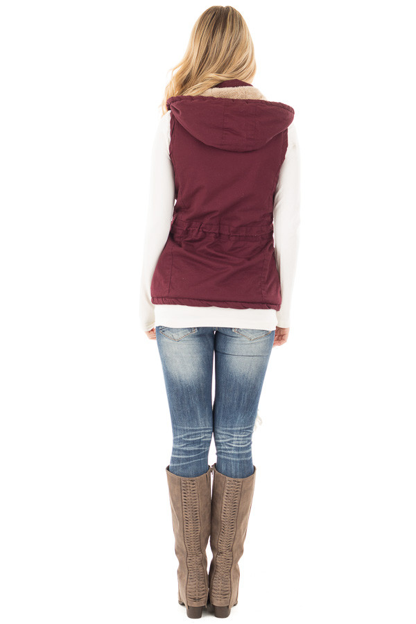 Burgundy Vest with Bronze Zipper Details back full body