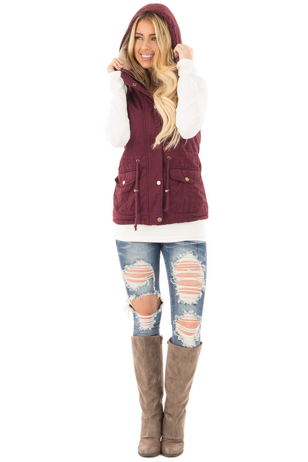 Burgundy Vest with Bronze Zipper Details front full body