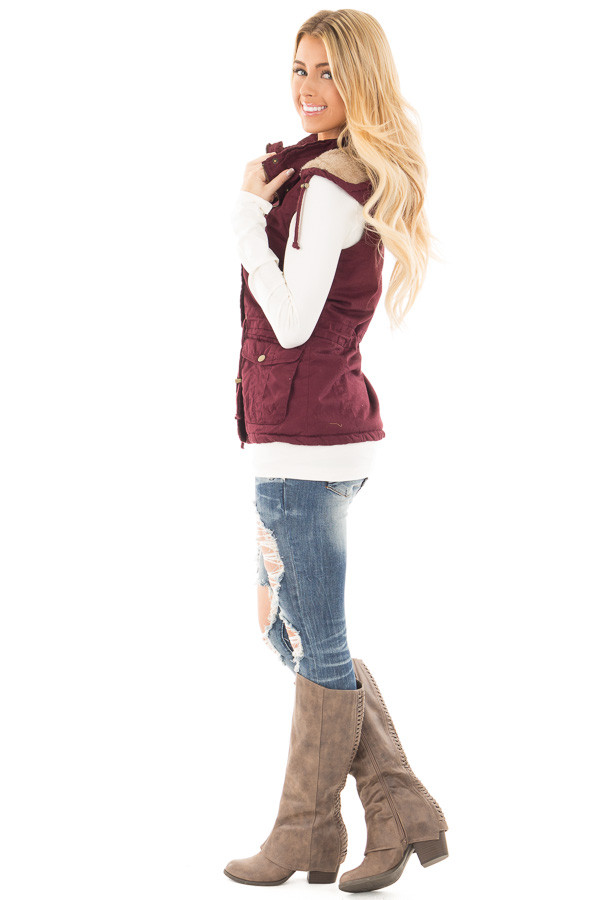 Burgundy Vest with Bronze Zipper Details side full body
