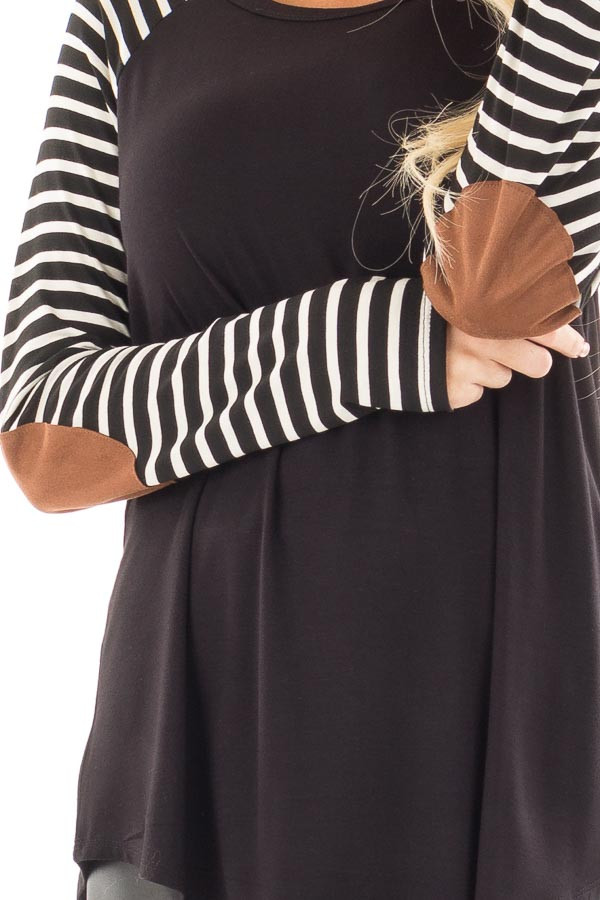 Black Top with Striped Raglan Sleeves and Elbow Patches detail