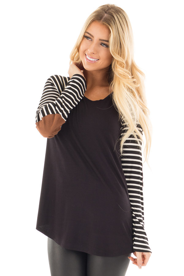 Black Top with Striped Raglan Sleeves and Elbow Patches front close up