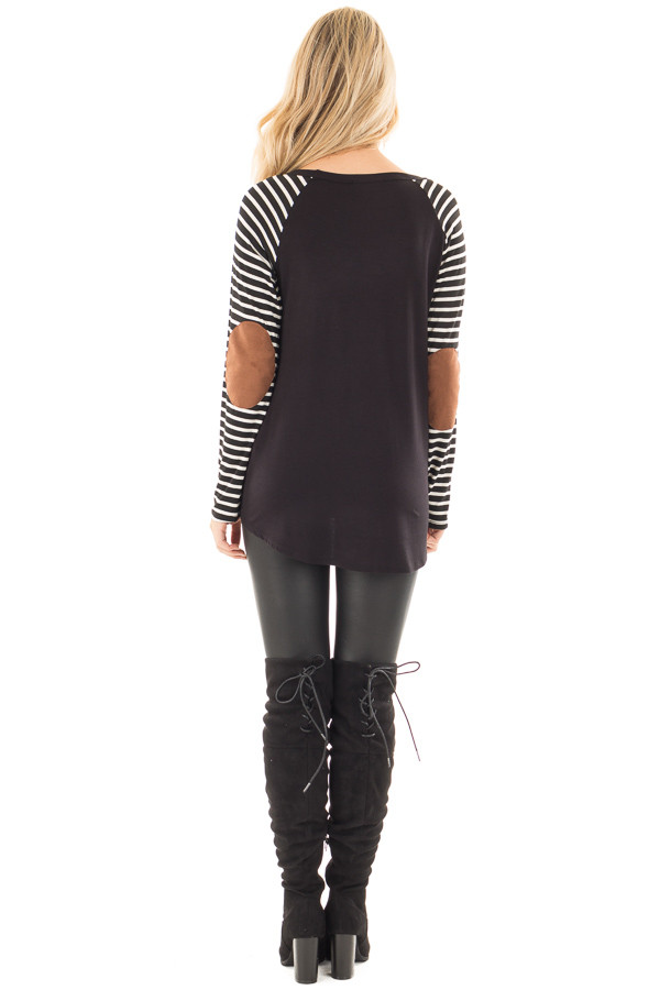 Black Top with Striped Raglan Sleeves and Elbow Patches back full body