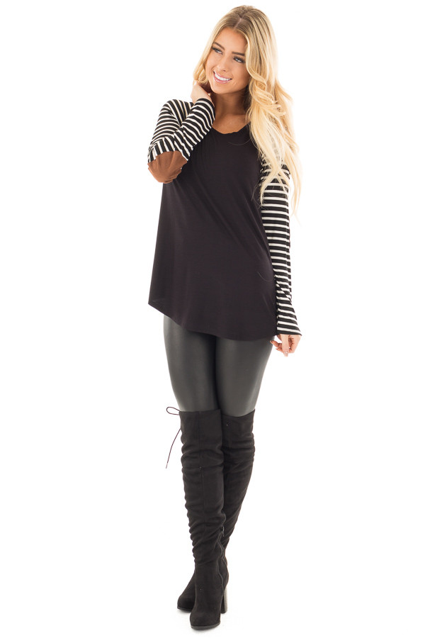 Black Top with Striped Raglan Sleeves and Elbow Patches front full body