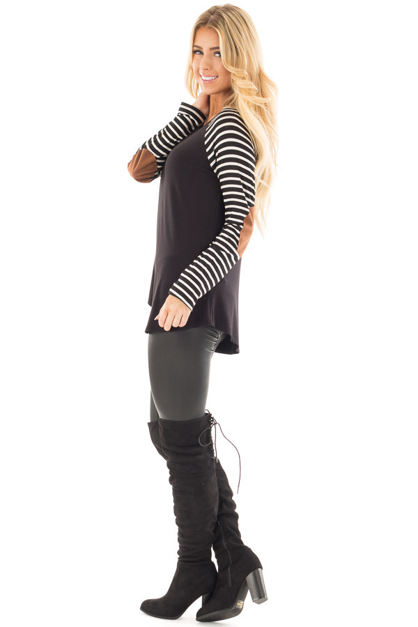 Black Top with Striped Raglan Sleeves and Elbow Patches side full body