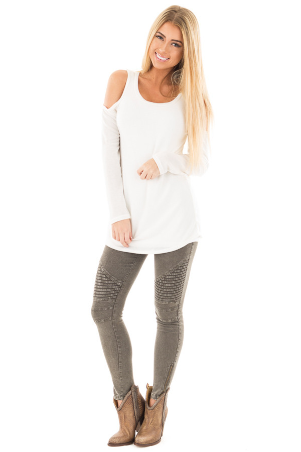 Ivory Cold Shoulder Long Sleeve Knit Sweater front full body