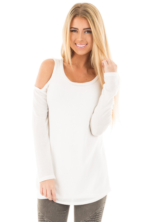 Ivory Cold Shoulder Long Sleeve Knit Sweater front close up