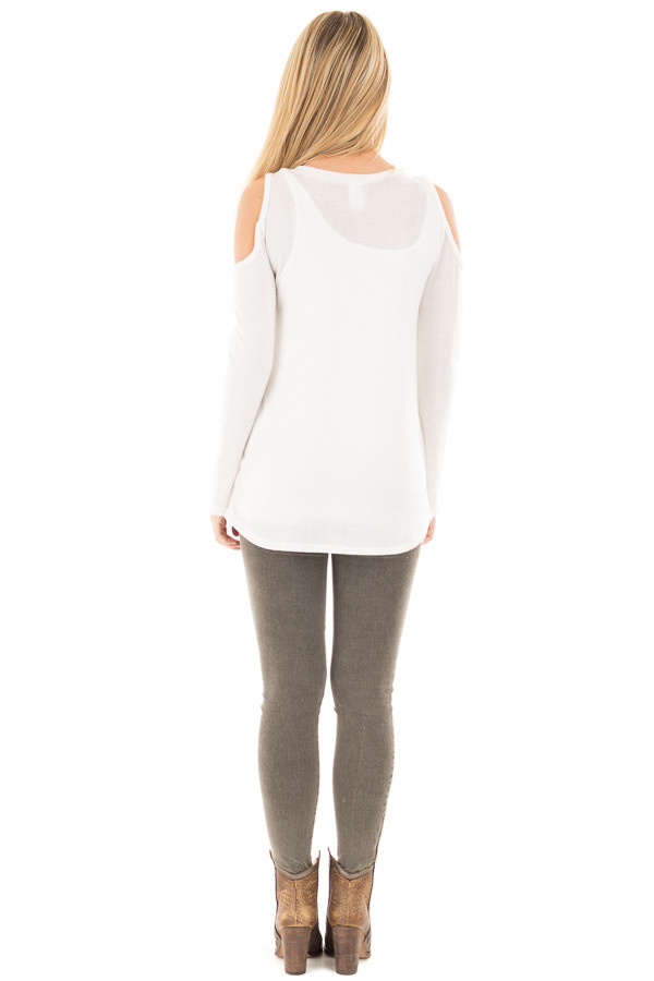 Ivory Cold Shoulder Long Sleeve Knit Sweater back full body