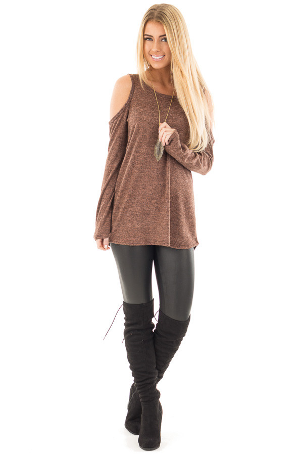 Mocha Cold Shoulder Long Sleeve Knit Sweater front full body