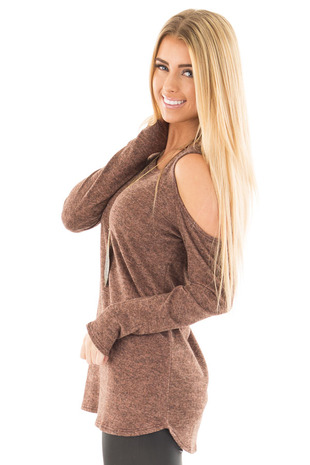 Mocha Cold Shoulder Long Sleeve Knit Sweater side close up