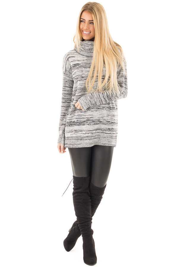 Ivory and Black Two Tone Turtleneck Sweater front full body