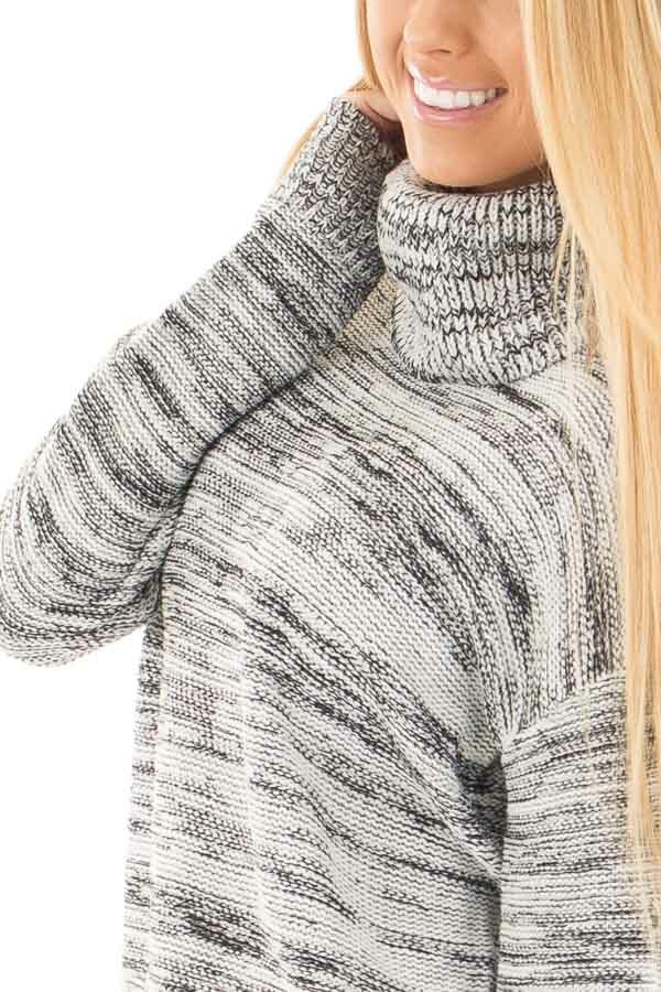 Ivory and Black Two Tone Turtleneck Sweater detail