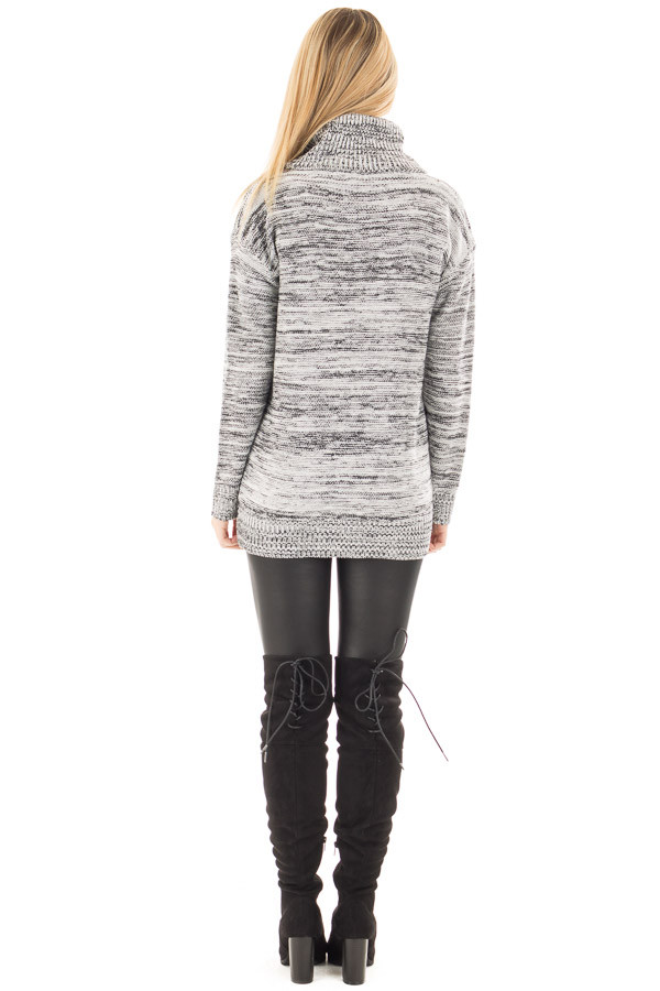Ivory and Black Two Tone Turtleneck Sweater back full body