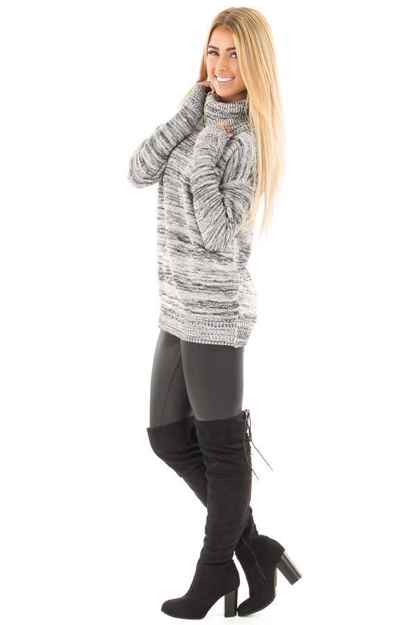 Ivory and Black Two Tone Turtleneck Sweater side full body
