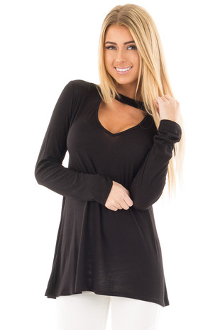 Black Mock Neck Long Sleeve Tunic with V Neck Cut Out Detail front close up