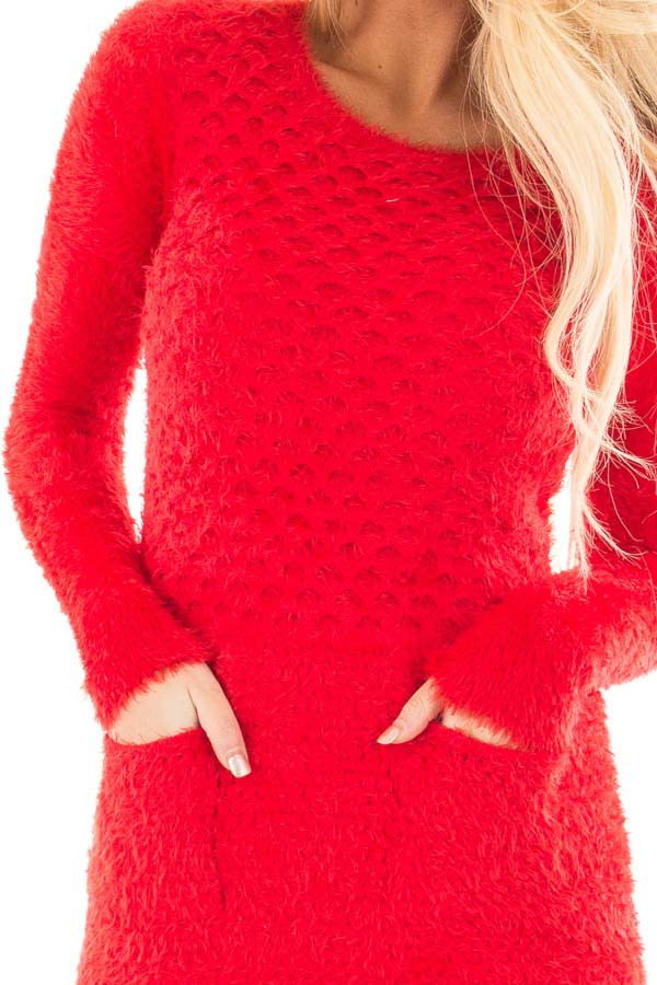 Red Soft and Stretchy Long Sleeve Top with Pockets detail