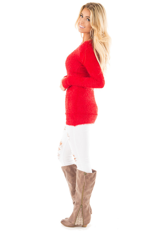 Red Soft and Stretchy Long Sleeve Top with Pockets side full body