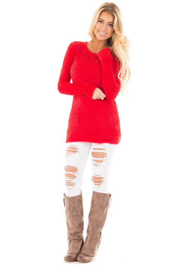 Red Soft and Stretchy Long Sleeve Top with Pockets front full body