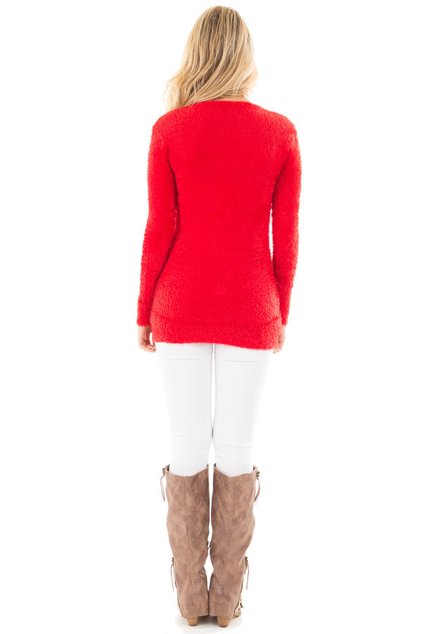 Red Soft and Stretchy Long Sleeve Top with Pockets back full body