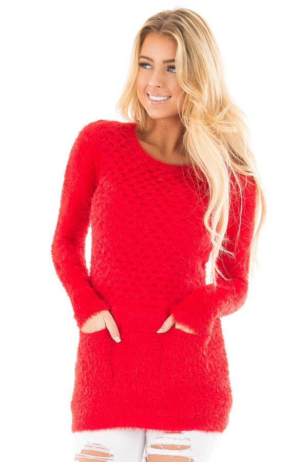 Red Soft and Stretchy Long Sleeve Top with Pockets front close up