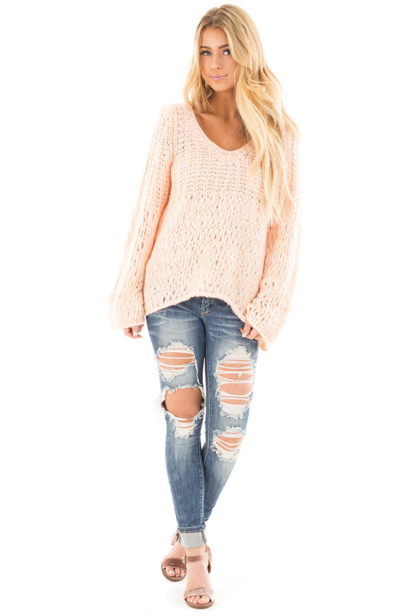 Blush Loose Knit V Neck Sweater with Bell Sleeves front full body