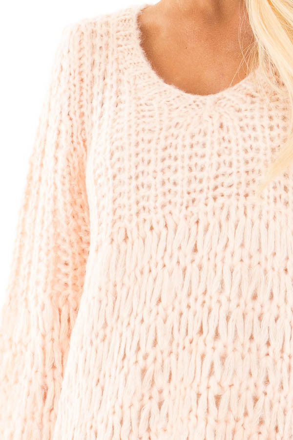 Blush Loose Knit V Neck Sweater with Bell Sleeves detail