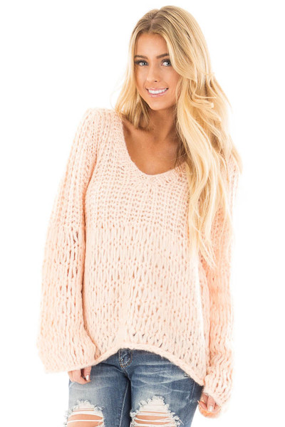 Blush Loose Knit V Neck Sweater with Bell Sleeves front close up