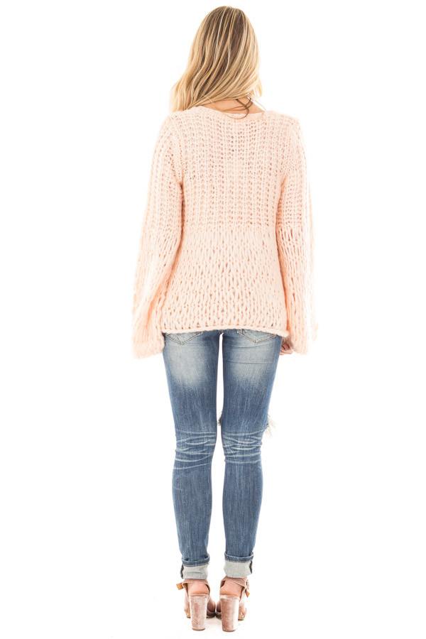 Blush Loose Knit V Neck Sweater with Bell Sleeves back full body