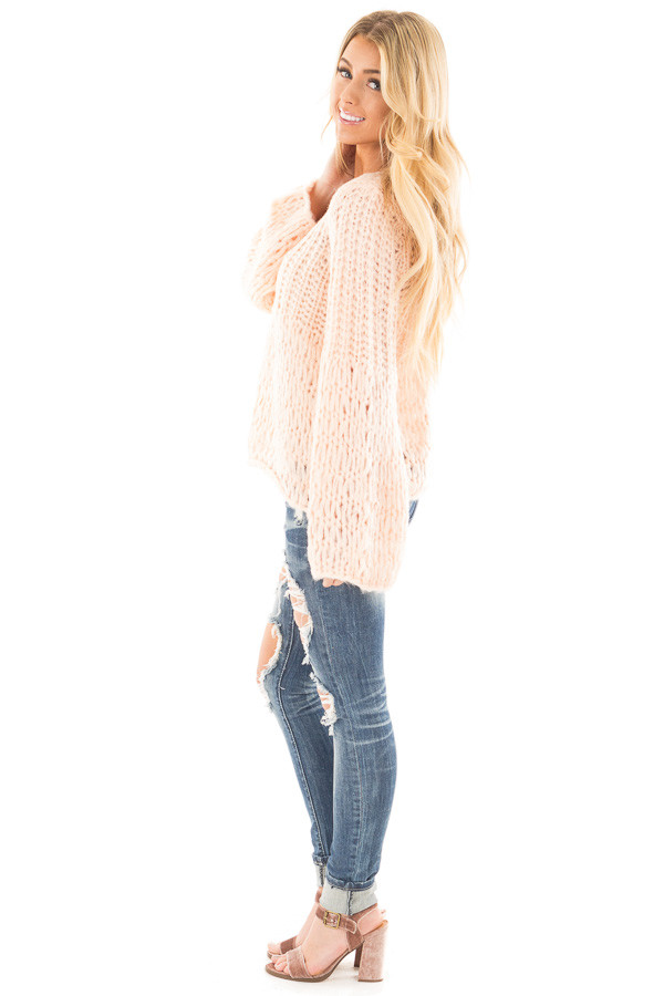 Blush Loose Knit V Neck Sweater with Bell Sleeves side full body