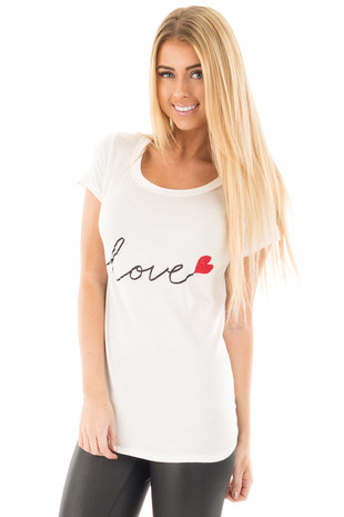 Ivory Tee with 'Love' Print and Red Beaded Heart Detail front close up