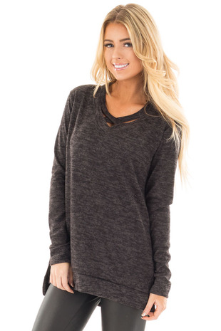 Black Two Tone Criss Crossed Neckline Top with Side Slits front close up