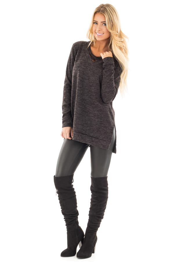 Black Two Tone Criss Crossed Neckline Top with Side Slits front full body