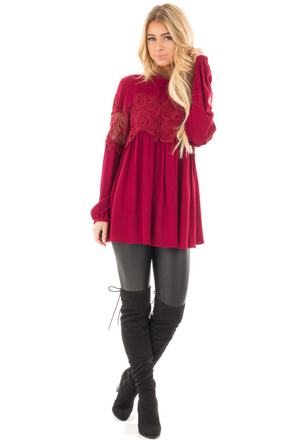Burgundy High Neck Lace Detail Blouse front full body