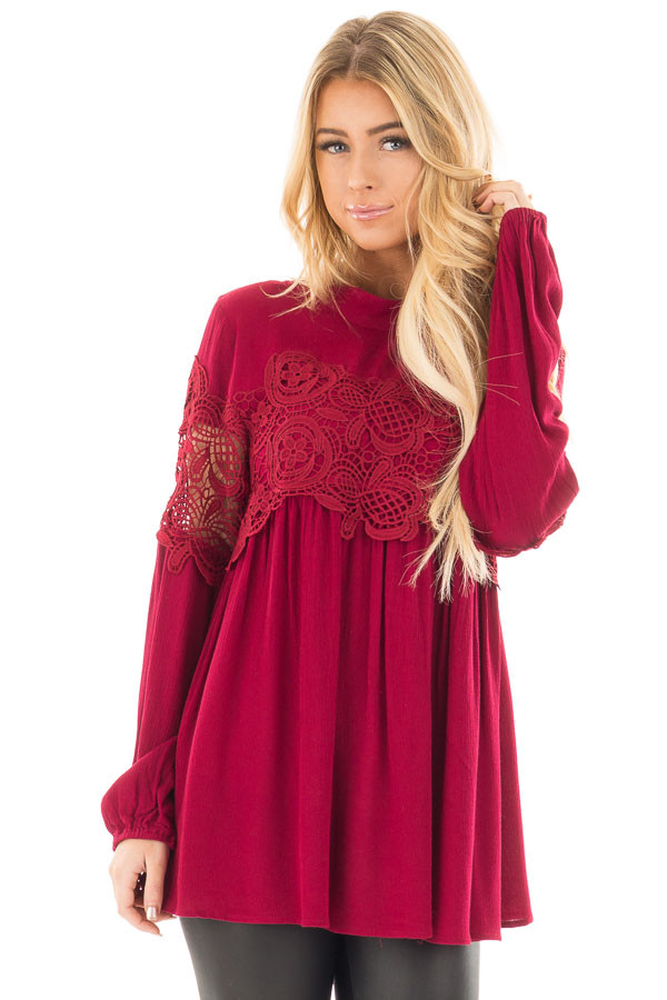 Burgundy High Neck Lace Detail Blouse front close up