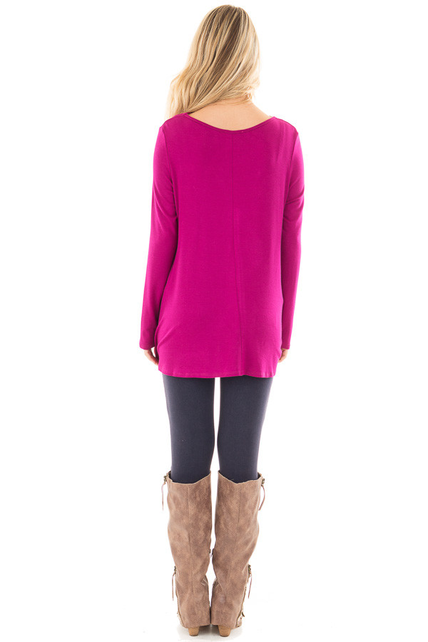 Magenta Long Sleeve Top with Criss Cross Detail back full body