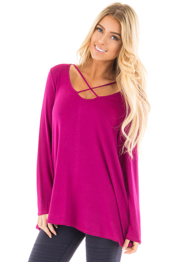 Magenta Long Sleeve Top with Criss Cross Detail front close up