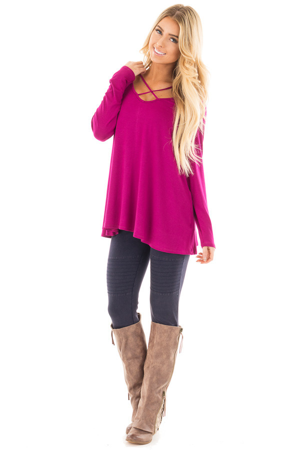 Magenta Long Sleeve Top with Criss Cross Detail front full body