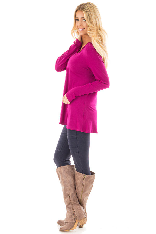 Magenta Long Sleeve Top with Criss Cross Detail side full body