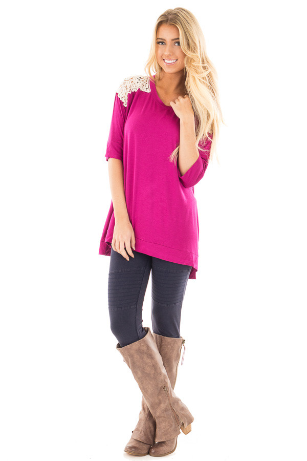 Magenta Solid Top with Crochet Detail Shoulder front full body