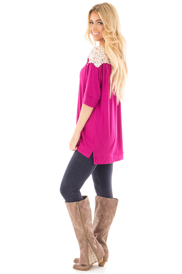 Magenta Solid Top with Crochet Detail Shoulder side full body