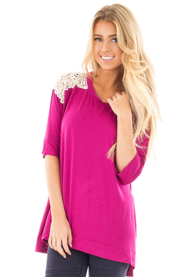 Magenta Solid Top with Crochet Detail Shoulder front close up