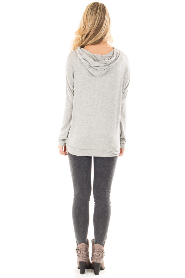 """Heather Grey """"Be Mine"""" Graphic Hoodie Top back full body"""