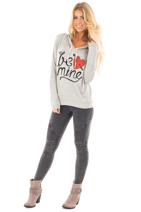 """Heather Grey """"Be Mine"""" Graphic Hoodie Top front full body"""