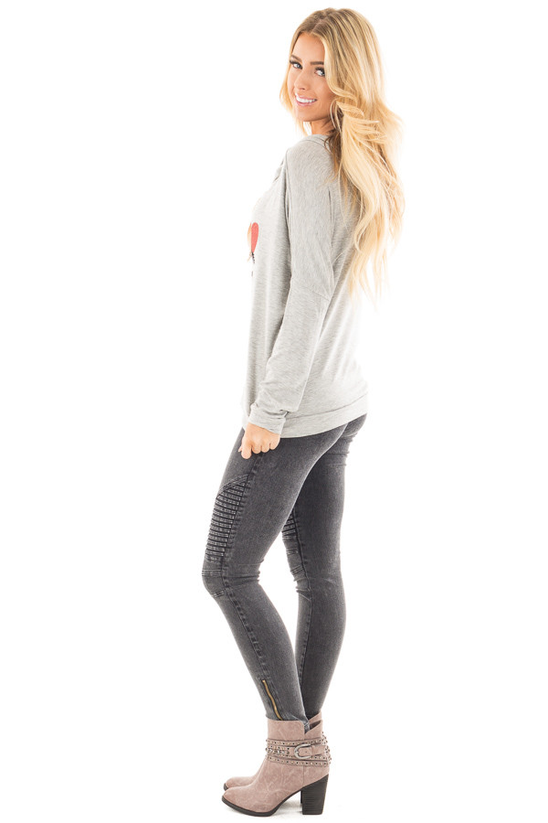 """Heather Grey """"Be Mine"""" Graphic Hoodie Top side full body"""