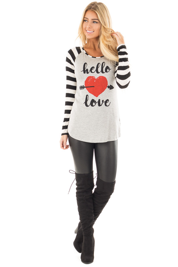 "Black Striped ""Hello Love"" Baseball Graphic Tee front full body"