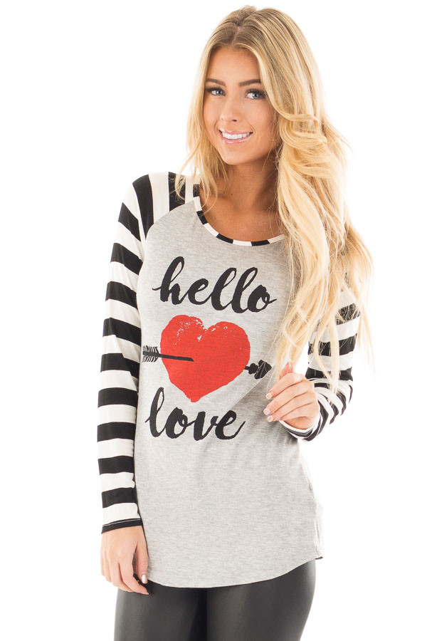 "Black Striped ""Hello Love"" Baseball Graphic Tee front close up"