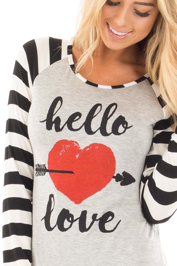 "Black Striped ""Hello Love"" Baseball Graphic Tee detail"