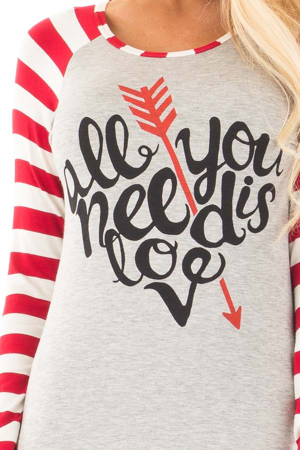 "Red Striped ""All You Need is Love"" Graphic Baseball Tee detail"