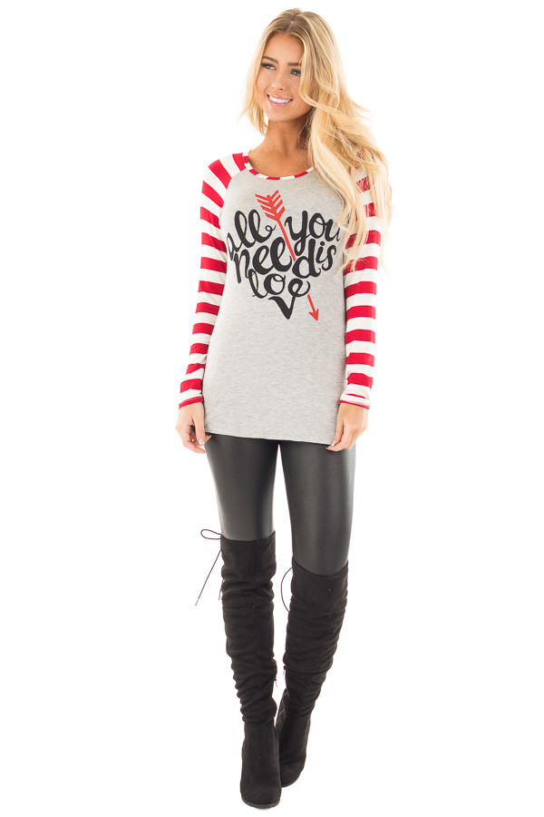 "Red Striped ""All You Need is Love"" Graphic Baseball Tee front full body"